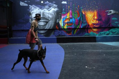 Un hombre pasea a su perro en Santiago (REUTERS/Iván Alvarado)