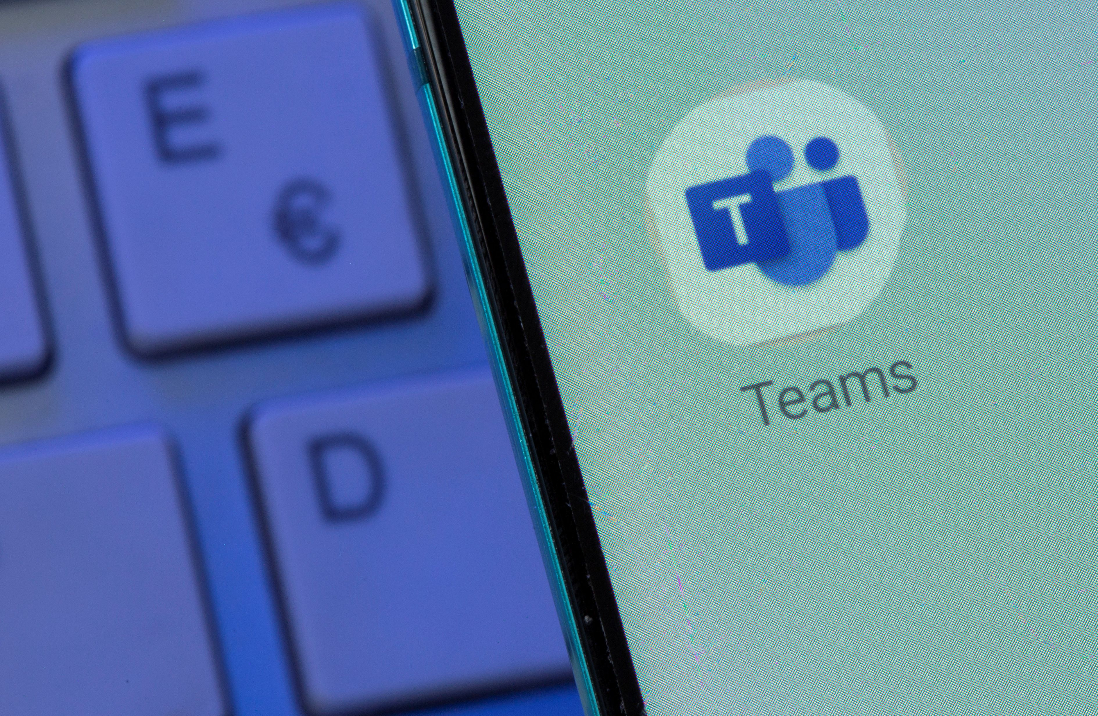 Microsoft Teams app is seen on the smartphone placed on the keyboard in this illustration taken, July 26, 2021. REUTERS/Dado Ruvic/Illustration
