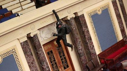 Un manifestante se cuelga del balcón de la Cámara del Senado (Win McNamee/Getty Images/AFP)