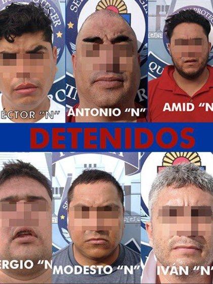 Seis miembros del cártel de Sinaloa, que supuestamente participaron en un documental, fueron capturados por elementos de la FGE de Quintana Roo (Foto: Twitter @kpya)