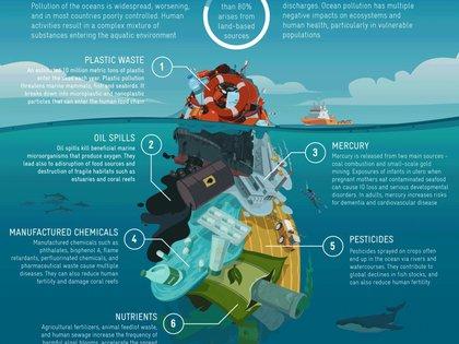 """Polución oceánica_ 1- Residuos plásticos 2- Derrames de petróleo 3- Mercurio 4- Productos farmacéuticos 5- Pesticidas 6- Nutrientes (fertilizantes) Foto_ Estudio _Salud humana y contaminación de los océanos"""""""