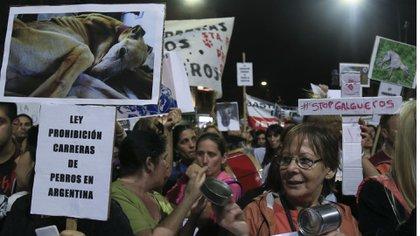 Las afueras del Congreso de la Nación mientras en la Cámara de Diputados se votaba el proyecto que convirtió en ley la prohibición de las carreras de perros en todo el país. (NA - Marcelo Capece)