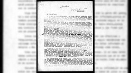 La carta que se analiza aquí es el borrador que quedó en manos de Perón, en lo que se llama Archivo de Puerta de Hierro, depositado en el Archivo General de la Nación