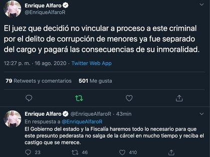 El gobernador de Jalisco, Enrique Alfaro, anunció la destitución del juez José Luis Solís Aranda. (Foto: Captura de pantalla)