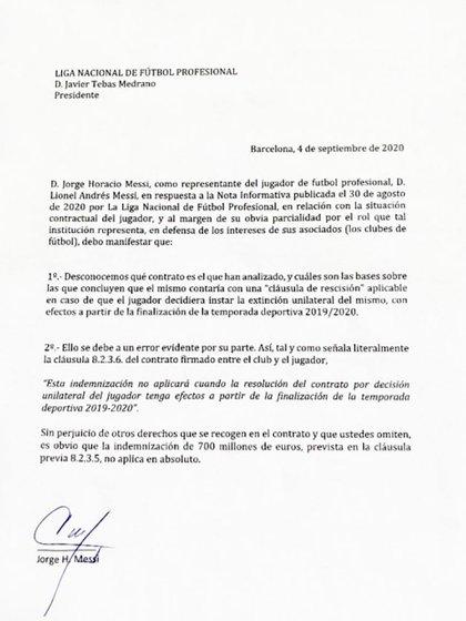 El comunicado Jorge Messi a la Liga de España