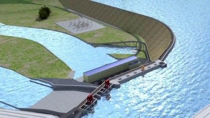 La maqueta de una de las represas de Santa Cruz, ahora Néstor Kirchner, que volverá a llamarse Condor Cliff.