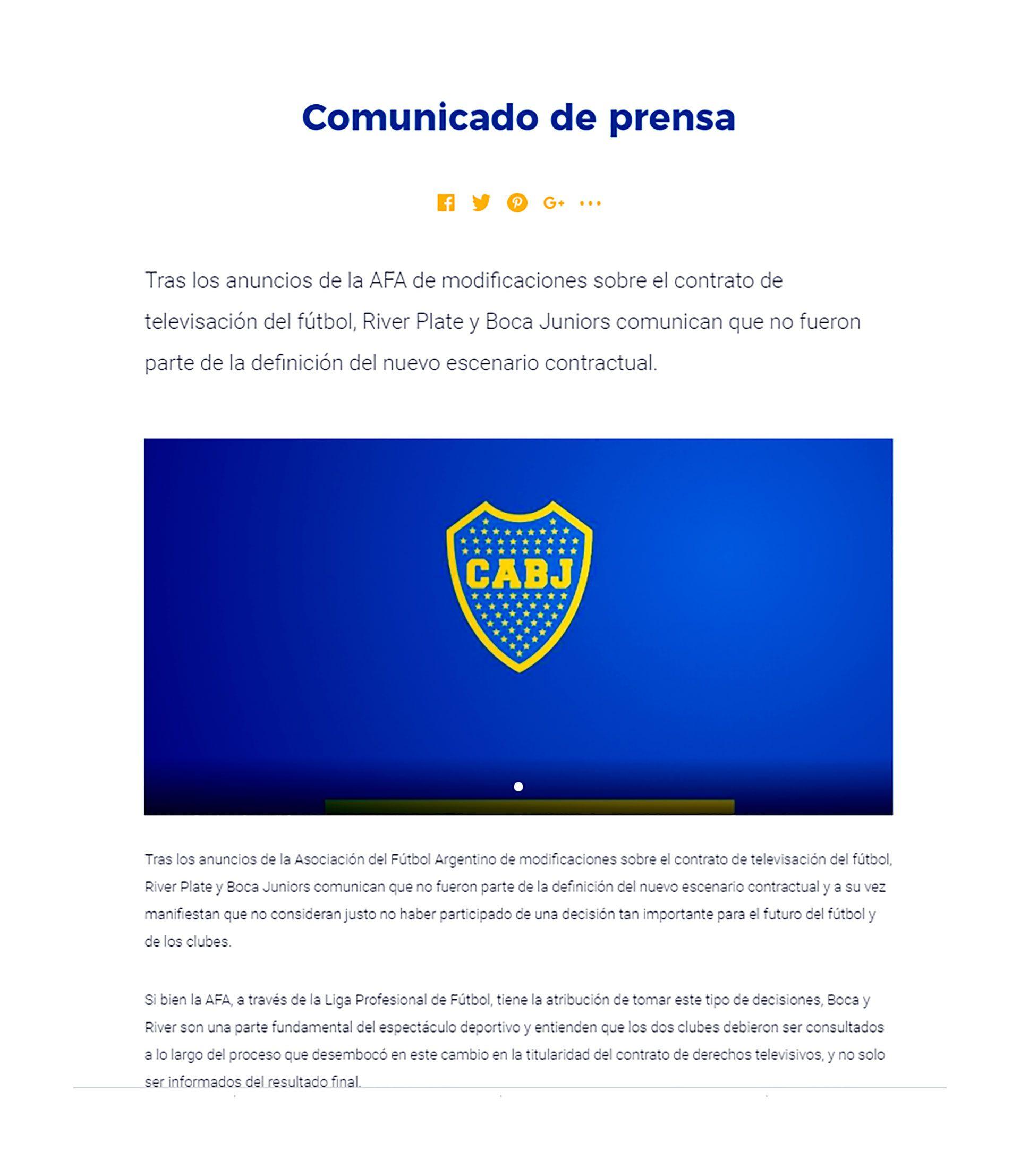 comunicado river liga profesional futbol