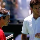 Roger Federer (L) of Swizerland stands next to Juan Martin Del Potro of Argentina during a tennis clinic in Tigre, on the outskirts of Buenos Aires, December 12, 2012. REUTERS/Marcos Brindicci (ARGENTINA - Tags: SPORT TENNIS)