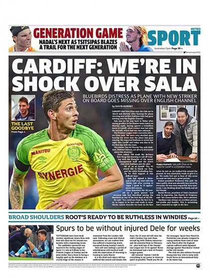"Metro Sport: ""Cardiff: estamos en shock por Sala"""
