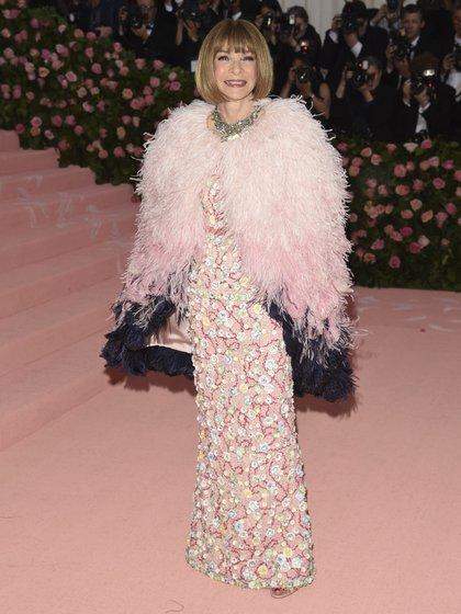 Anna Wintour, la creadora de la gala del MET vestida by Chanel (AFP)