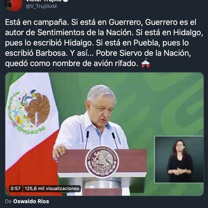 Twitt Victor Trujullo (Foto: Twitter@V_TrujilloM)
