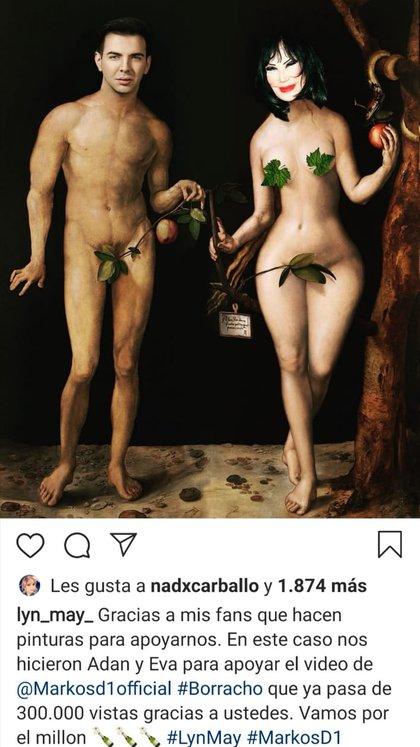 Lyn May, ante el escándalo, decidió compartir otra imagen, ahora con su prometido en una representación de Adan y Eva (Foto: Instagram @Lyn May)