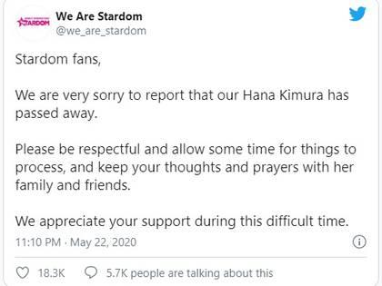 La compañía Stardom a la que pertenecía Kimura confirmó la lamentable noticia (Foto: Captura de pantalla)