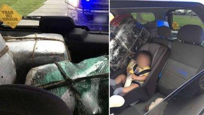 Los paquetes levantaron sospechas de policías que descubrieron no solo droga, sino a un bebé tomando leche junto a ellos (Foto: CBP Texas)