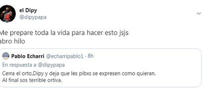 La respuesta de Pablo Echarri que generó que El Dipy creara un hilo de Twitter