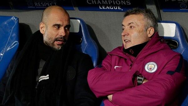 Domènec Torrent Font junto a Pep Guardiola en el Manchester City (Getty)