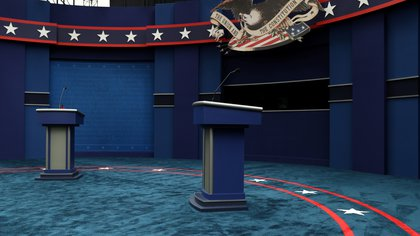 The stage awaits U.S. President Donald Trump and Democratic U.S. presidential nominee and former Vice President Joe Biden before their first presidential debate on the campus of the Cleveland Clinic in Cleveland, Ohio, U.S. September 29, 2020.  REUTERS/Jonathan Ernst