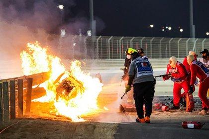 La voiture de Romain Grosjean après un accident au Grand Prix de Bahreïn