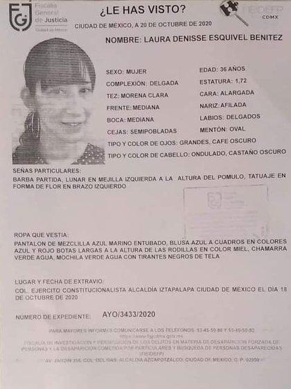 FGJCDMX anunció la localización con vida de Laura Denisse Esquivel Benítez (Foto: Twitter/@SupsipS)