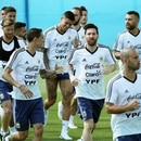 Soccer Football - World Cup - Argentina Training - Argentina Team Training Site, Moscow, Russia - June 28, 2018 Argentina's Lionel Messi with team mates during training REUTERS/Albert Gea