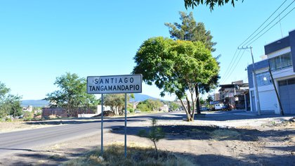 La entrada al pueblo de Tangamandapio (Foto: Google Maps)