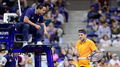Juan Martín del Potro se enojó con un espectador durante su encuentro por tercera ronda con Fernando Verdasco en el US Open (Getty Images/AFP)