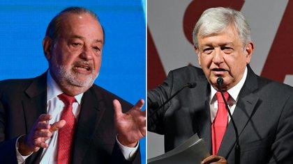 Carlos Slim y Andres Manuel Lopez Obrador