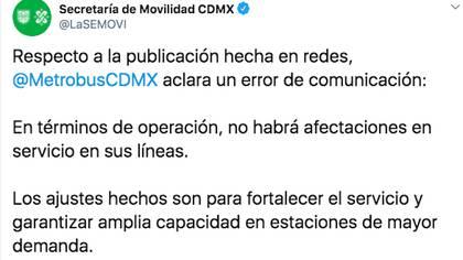 La secretaría de Movilidad de la CDMX, rectificó la información publicada en las redes sociales del metrobús, sobre la suspensión de rutas por COVID-19 (Foto: Twitter)