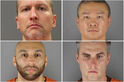 Derek Chauvin, Tou Thao, Thomas Lane y J. Alexander Kueng, los policías acusados por la muerte de George Floyd (REUTERS)