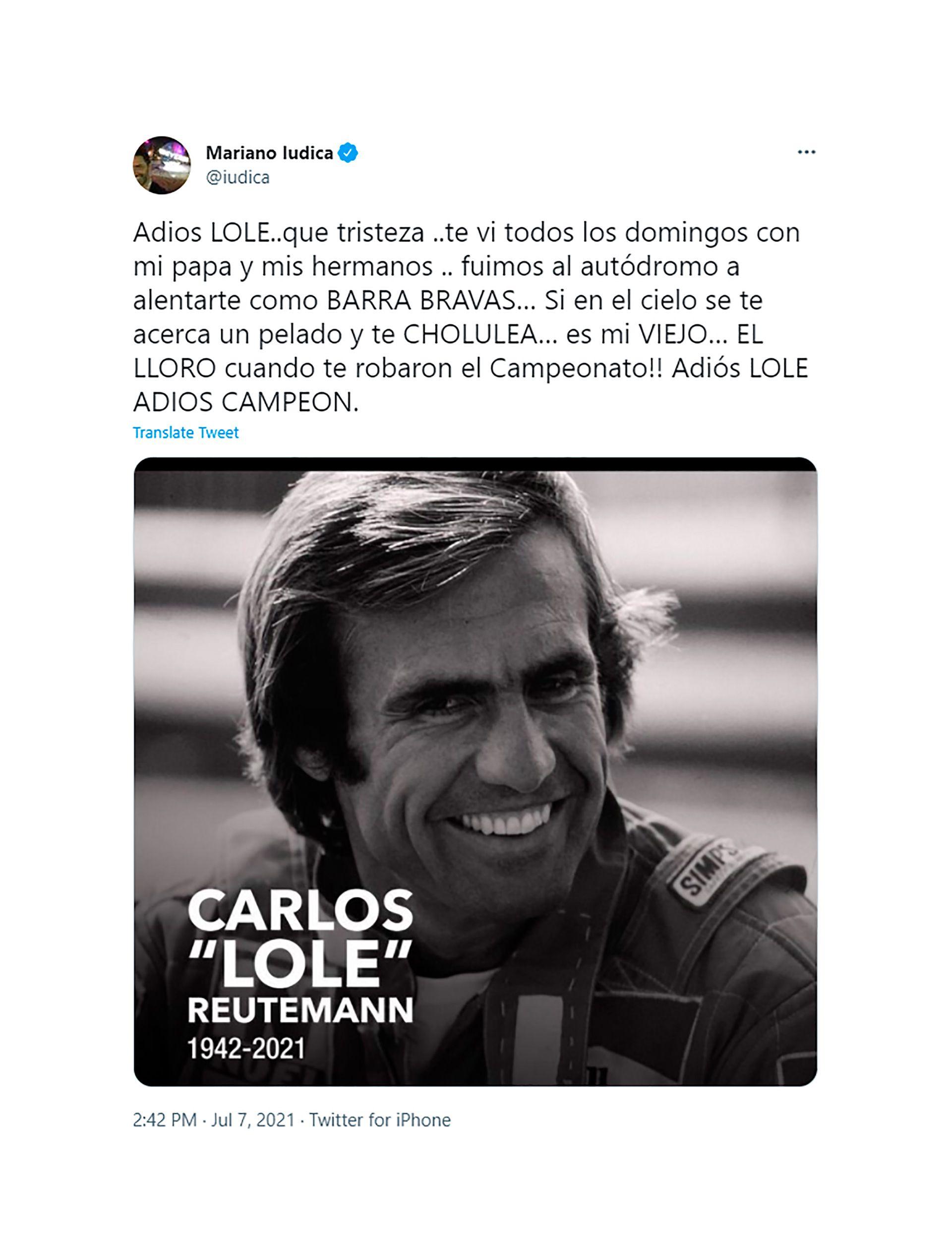 Famosos despiden a Carlos Reutemann