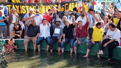 Amado Boudou, Fernando Esteche, Gabriel Mariotto y D'Elía, en Plaza de Mayo