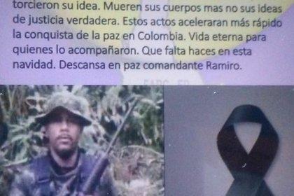 Panfleto que circula en Ituango, Antioquia, que confirmaría la muerte de alias Ramiro. Foto: El Colombiano