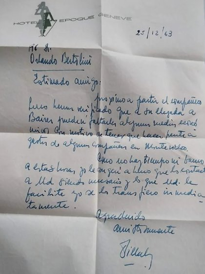 Carta manuscrita de Villalón, quien tras la muerte de Perón ideó y llevó a cabo el secuestro de un alto directivo de la Fiat en Francia, negoció para los Estados Unidos la liberación de los rehenes de la embajada en Irán, armó y desarmó compañías en Madrid y Ginebra, creó siete compañías offshore y, buscado por Interpol, desapareció sin dejar rastros
