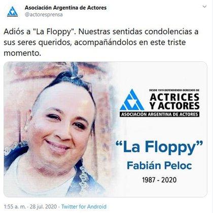 El mensaje de la Asociación Argentina de Actores (Foto: Twitter)