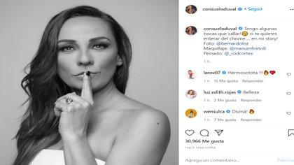 La actriz afirmó que daría declaraciones muy pronto en relación a las fotos en las que supuestamente ella aparece denuda (Foto: Instagram @consueloduval)