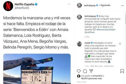La producción de Netflix ya comenzó a rodarse en el país europeo con algunas otras personalidades del medio español, como Amaia Salamanca y Lola Rodríguez. Foto: @belidapop/Twitter