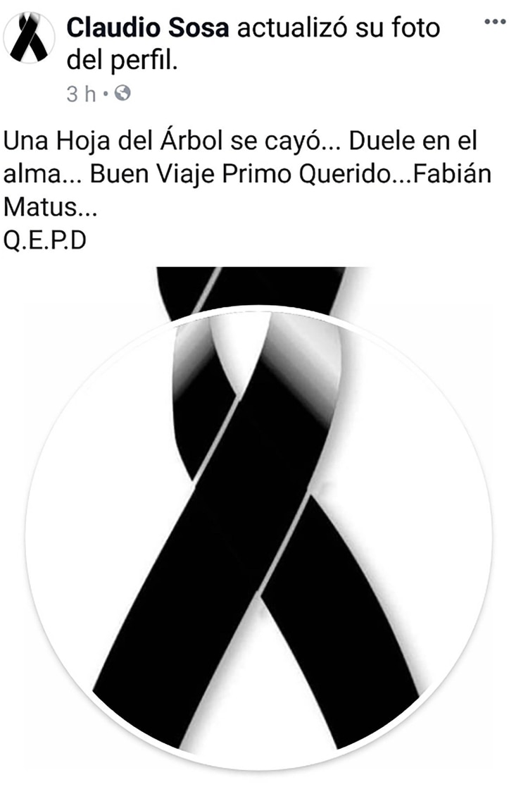 Captura del mensaje que publicó Claudio Sosa sobre la muerte de su primo