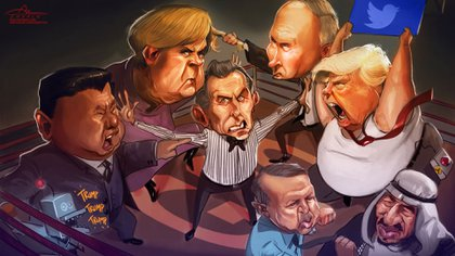 Xi Jinping, Angela Merkel, Mauricio Macri, Vladimir Putin, Recep Erdogan, Donald Trump y el Rey Salmán bin Abdulaziz (Ilustración: Rodrigo Acevedo Musto)