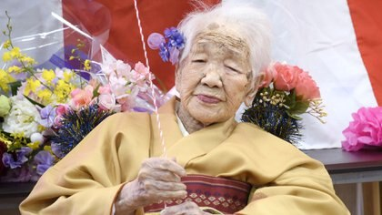 Kane Tanaka, born in 1903, smiles as a nursing home celebrates three days after her 117th birthday in Fukuoka, Japan, in this photo taken by Kyodo January 5, 2020. Mandatory credit Kyodo/via REUTERS ATTENTION EDITORS - THIS IMAGE WAS PROVIDED BY A THIRD PARTY. MANDATORY CREDIT. JAPAN OUT. NO COMMERCIAL OR EDITORIAL SALES IN JAPAN.