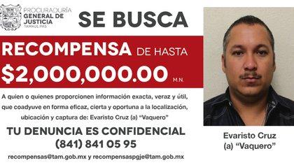 """La FGJ Tamaulipas ofreció 2,000,000 de pesos como recompensa a quien proporcione ayuda para la localización de Evaristo Cruzm alias """"El Vaquero""""  (Foto: FGJ Tamaulipas)"""