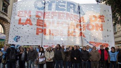 Dirigentes de Ctera durante una movilización (NA)