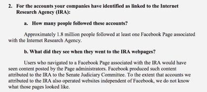 Respuesta de Colin Stretch, consejero general de Facebook, ante elComité Judicial del Senado. Habló de la cantidad de afectados en Facebook pero no en Instagram.