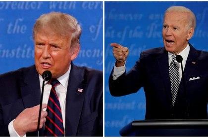 La combinación de fotos muestra al presidente Donals Trump y al candidato demócrata Joe Biden durante el primer debate de campaña de la Casa Blanca en las elecciones del 3 de noviembre en Cleveland, Estados Unidos, el 29 de septiembre de 2020. REUTERS / Brian Snyder