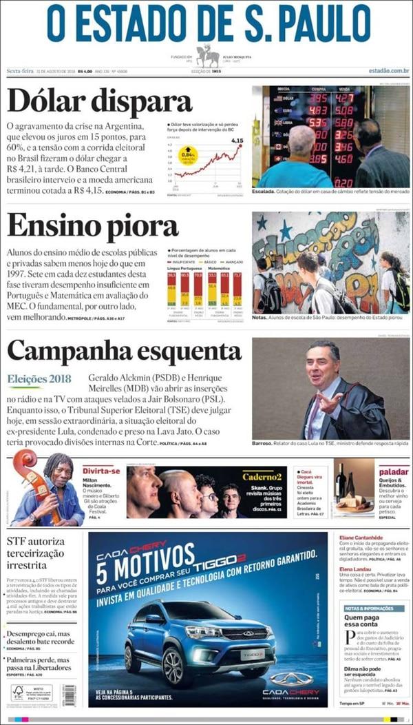 O Estado de S.Paulo titula con el impacto de la crisis argentina sobre el real