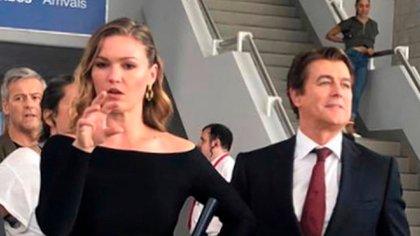 """Gabriel Corrado, junto a Julia Stiles, protagonista de """"Riviera"""""""