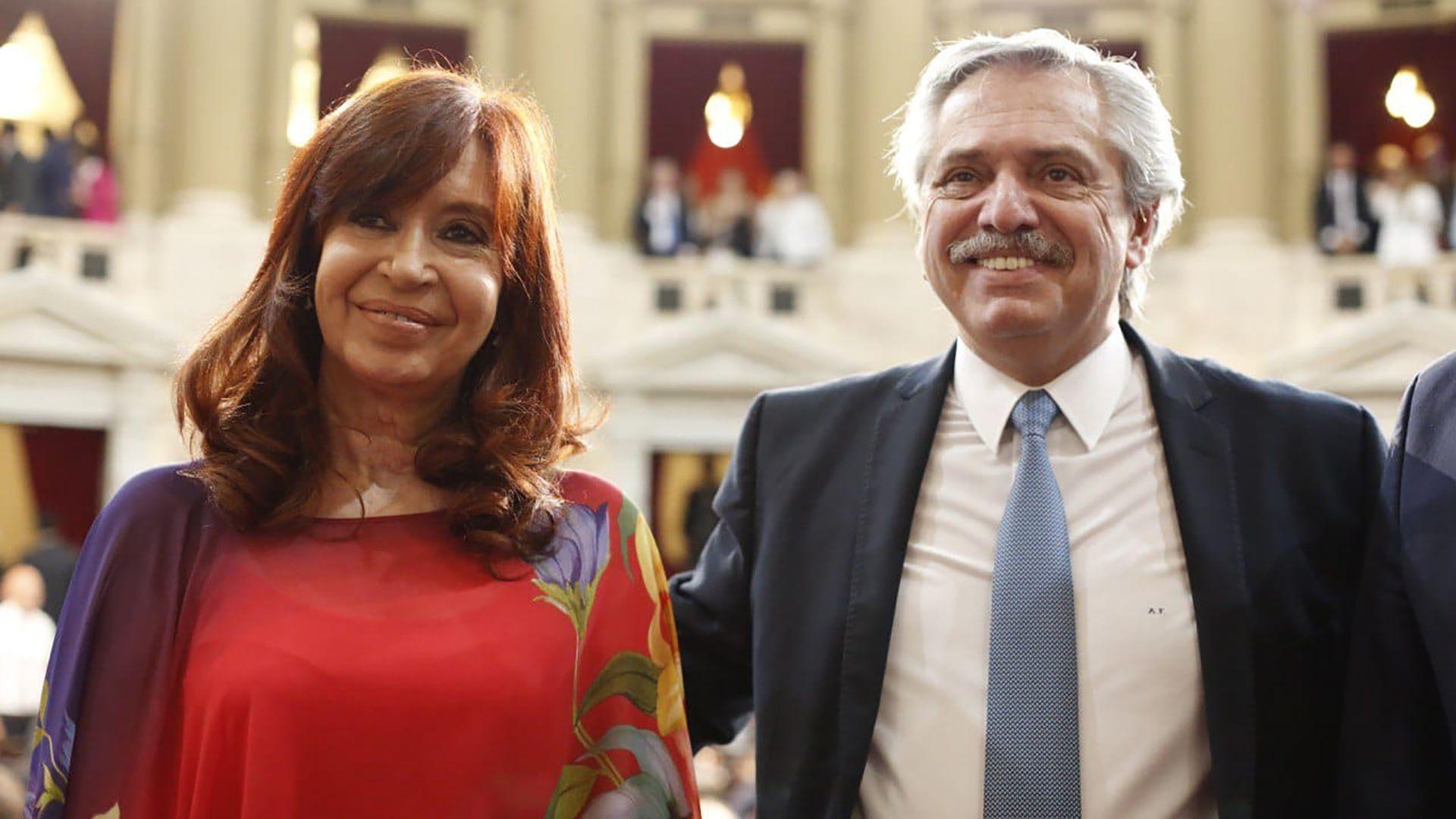 Cristina Kirchner y Alberto Fernández en la apertura de sesiones ordinarias 2020 (Prensa Senado)