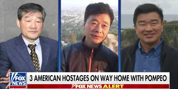 Los tres hombres liberados llegarán a Estados Unidos en la madrugada del jueves