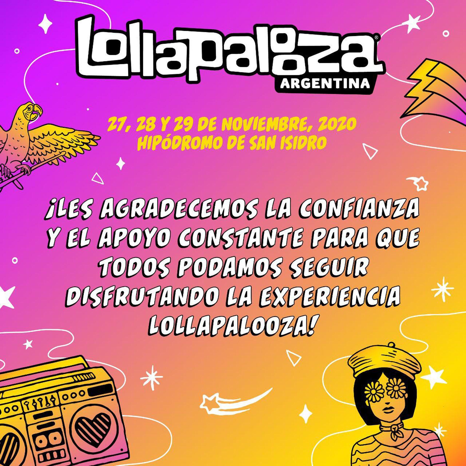 El anuncio de la reprogramación de Lollapalooza
