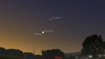 Júpiter, el más grande, tarda 12 años en dar la vuelta al Sol, Saturno, 29. Y cada dos décadas aproximadamente, los dos planetas parece que se acercan cuando observamos la esfera celeste desde la Tierra