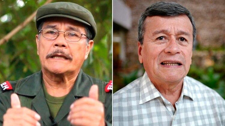 Nicolas Rodriguez Bautista, alias Gabino, e Israel Ramirez Pineda, alias Pablo Beltran, los dos líderes del ELN que escaparon a Cuba.